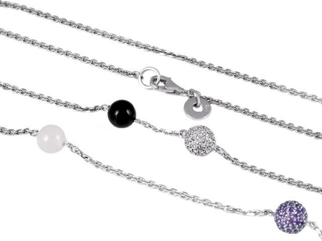 Cai Multi Stone Sterling Silver Necklace