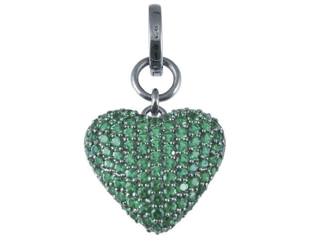 Cai Green CZ Heart Silver Pendant