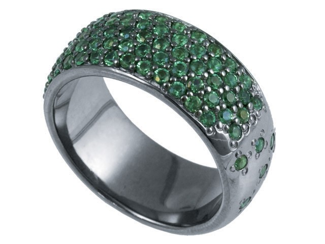 Cai Green Cubic Zirconia Silver Wide Band Ring Size: O