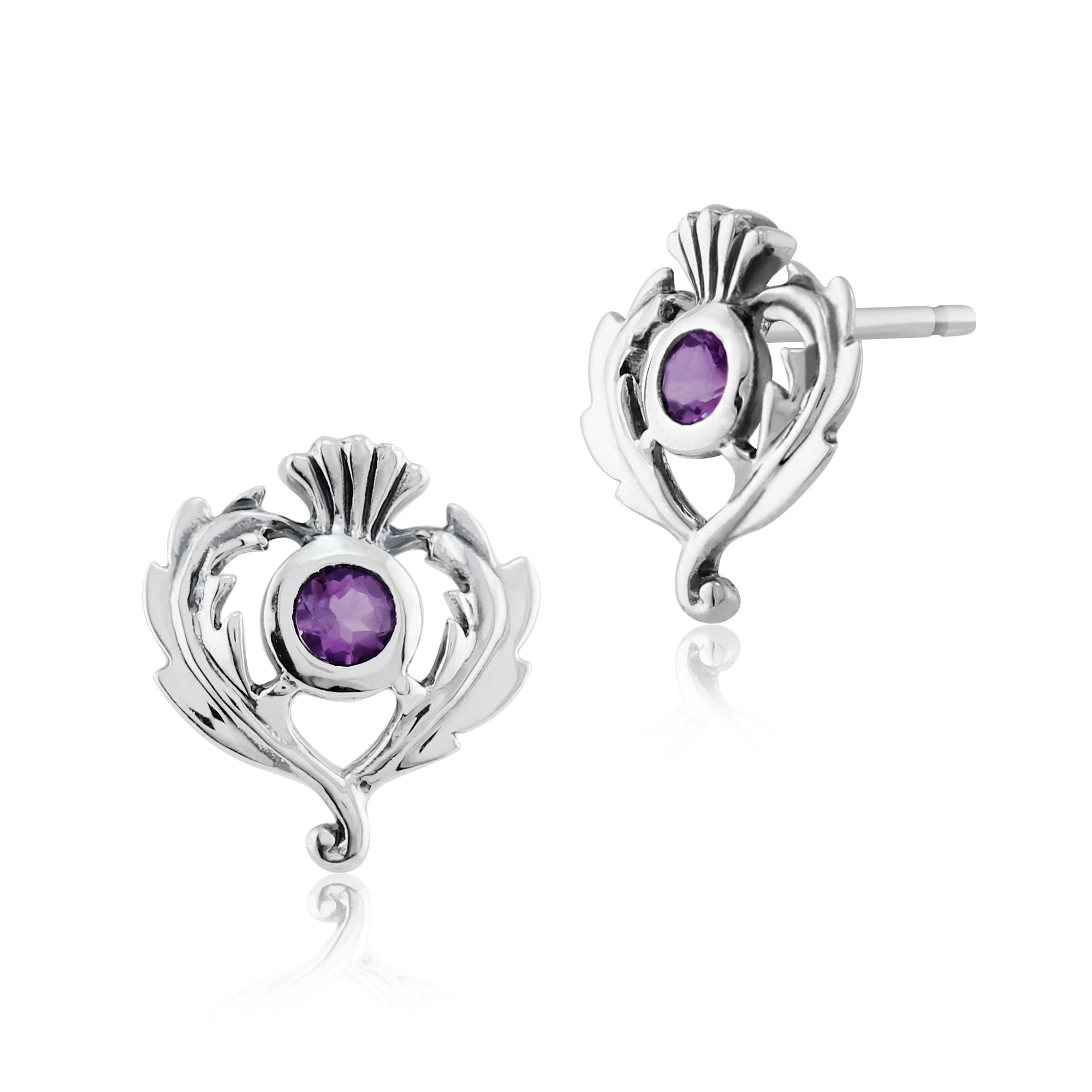 Gemondo 925 Sterling Silver 0.11ct Amethyst Thistle Style Stud Earrings