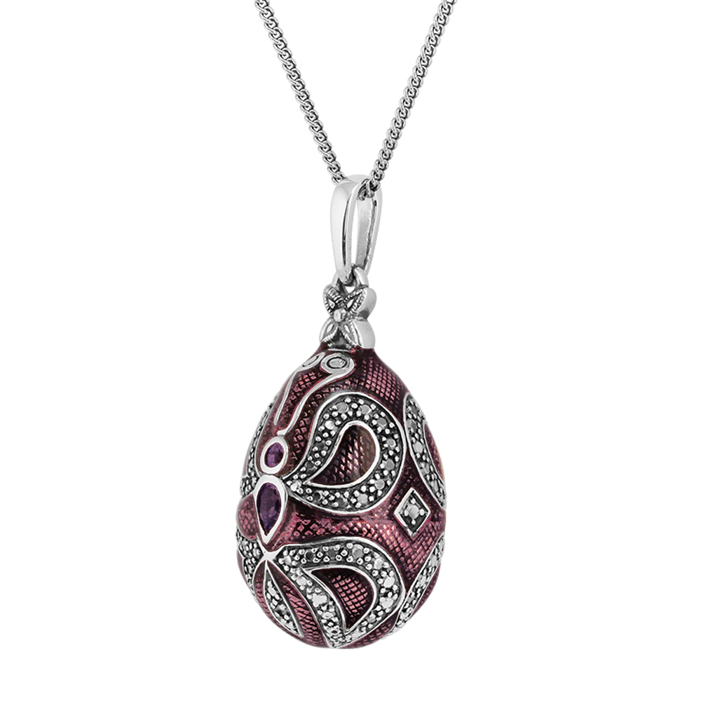 sterling silver 0 29ct amethyst faberge egg style 45cm