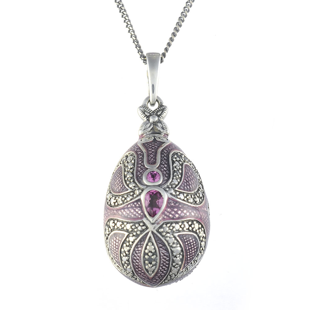 Sterling Silver 0.34ct Pink Tourmaline Faberge Egg Style 45cm Necklace