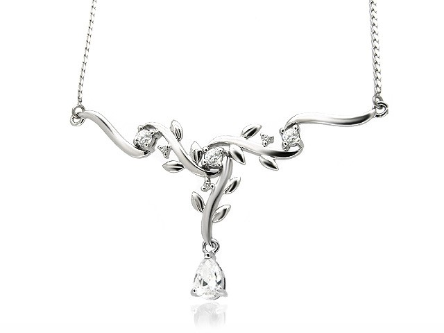 9ct White Gold CZ Drop Necklace