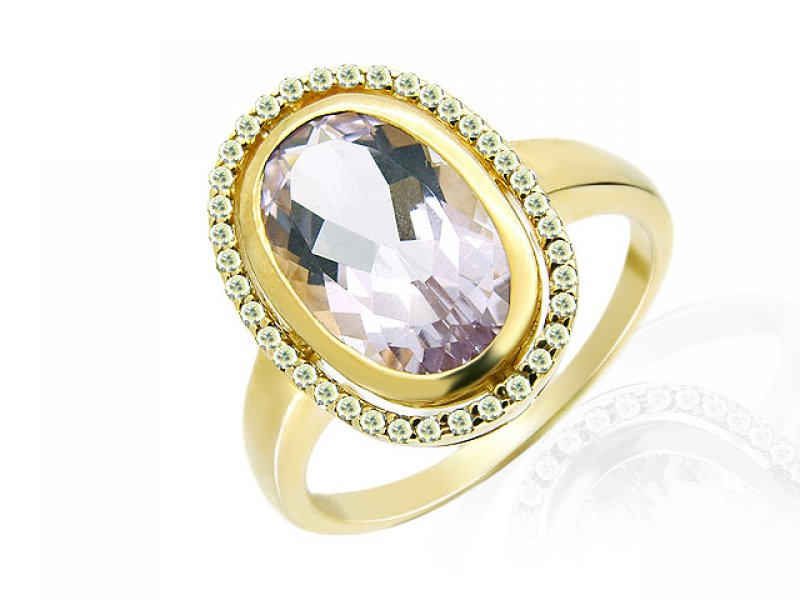 9ct Yellow Gold Pink Amethyst