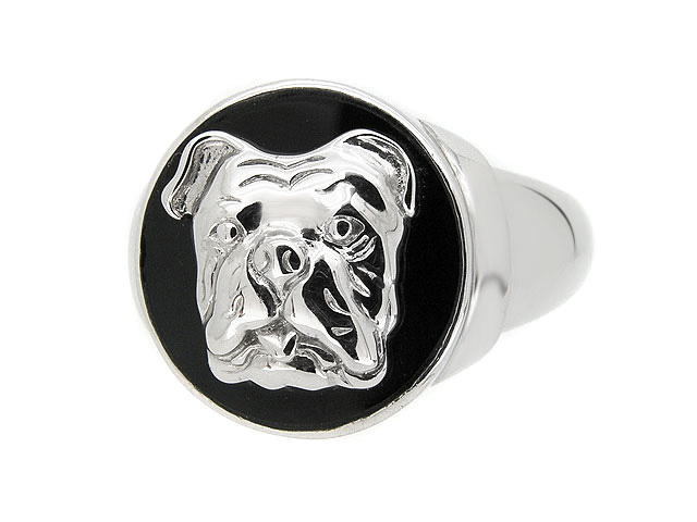 Silver Black Onyx Bulldog Men