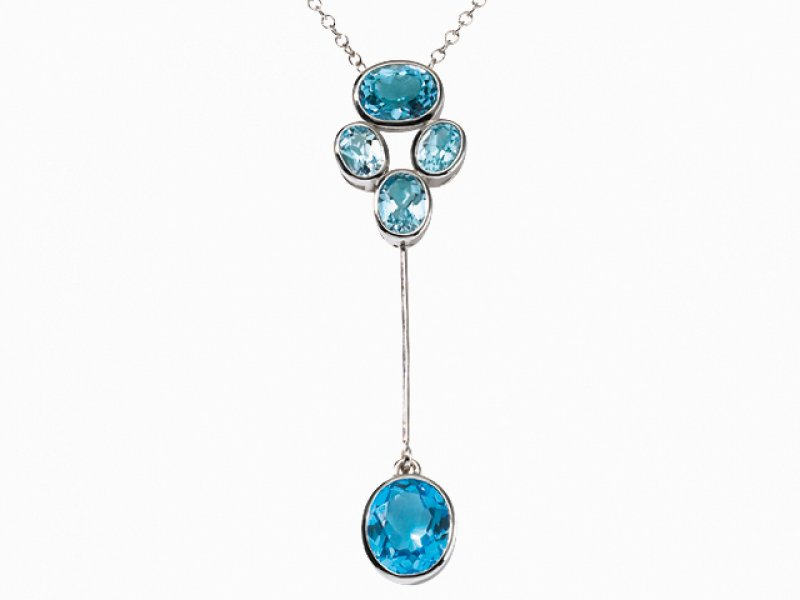 18ct White Gold Blue Topaz Necklace