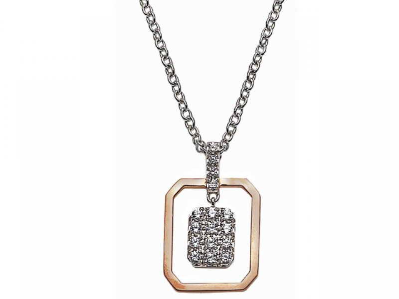 18ct Two Tone Gold Diamond Necklace
