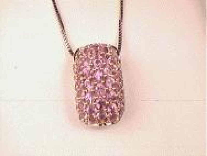 18ct White Gold Pink Sapphire Necklace
