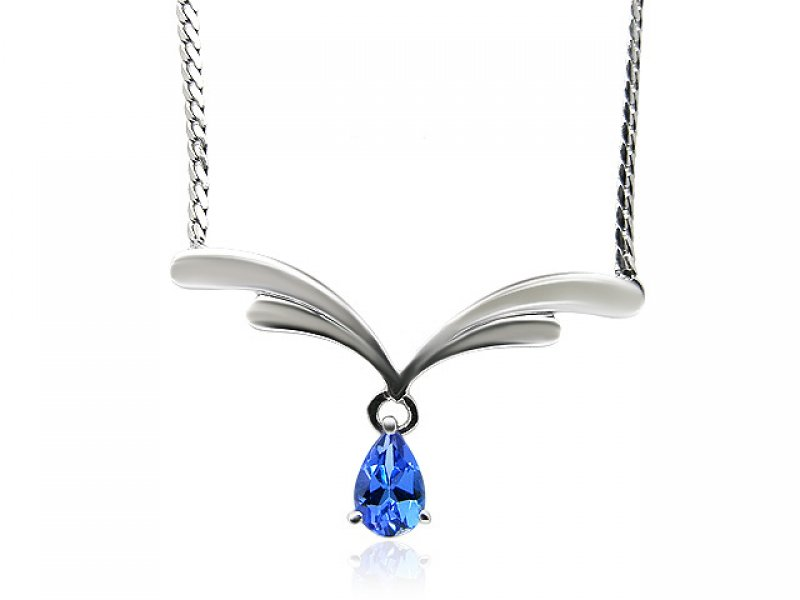 9ct White Gold Pear Cut Tanzanite Drop Necklace
