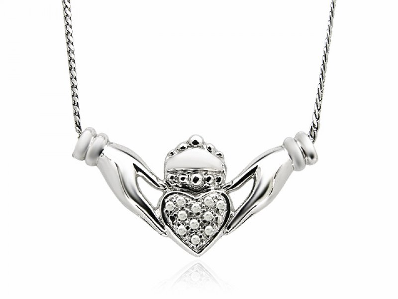 9ct White Gold Diamond Set Claddagh Necklace