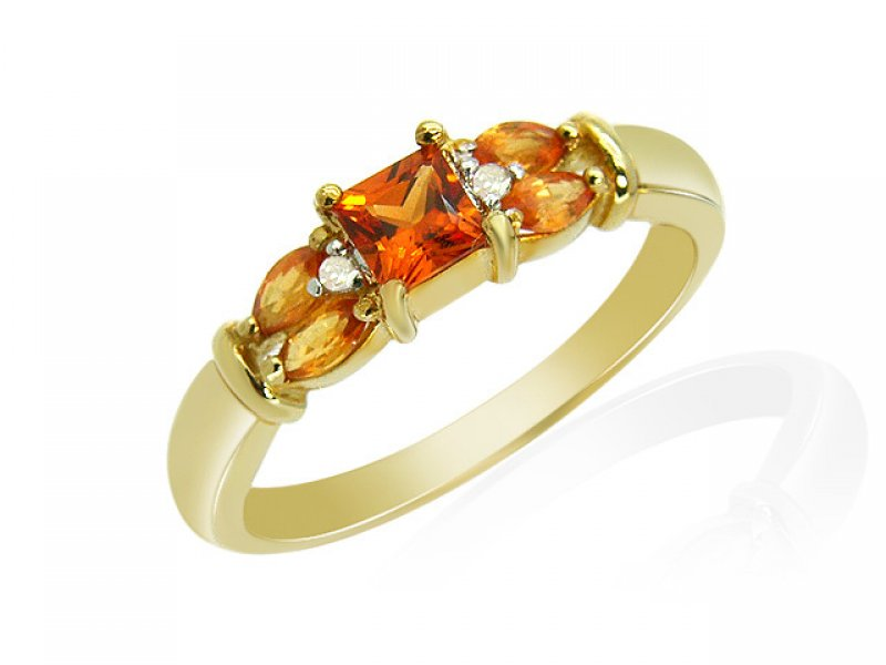 9ct Yellow Gold Orange Sapphire