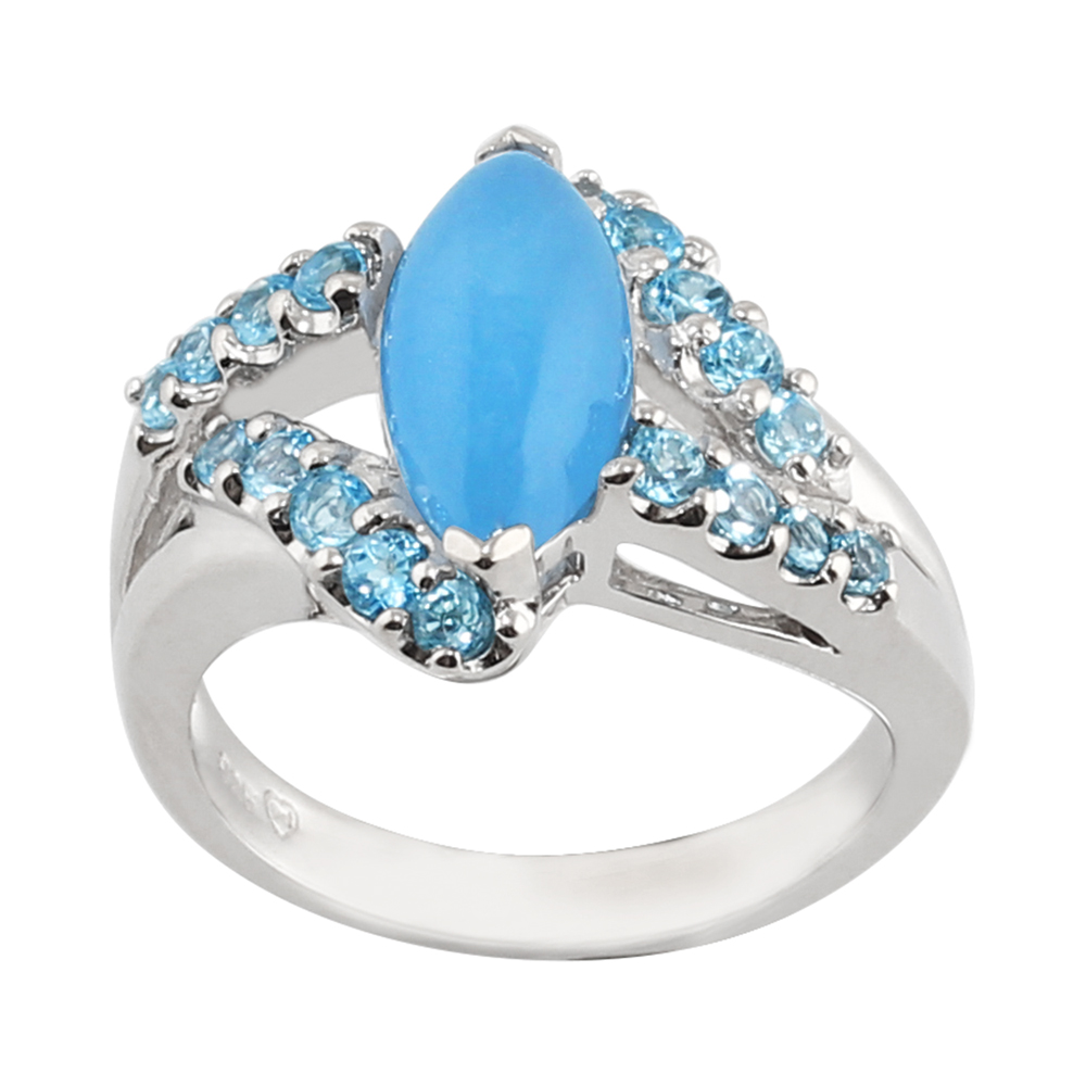 925 Sterling Silver 2.18ct Blue Jade & 0.56ct Blue Topaz Cluster Statement Ring