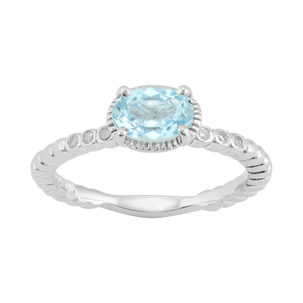 Sterling Silver 0.87ct Natural Blue Topaz & 4.8pt Diamond Single Stone Ring