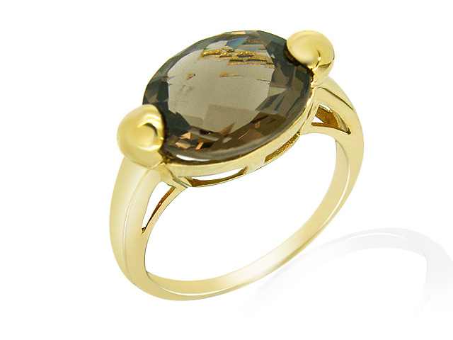 9ct Yellow Gold Smokey Quartz Cocktail Ring Size: L