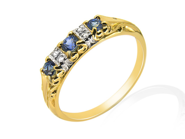 9ct Yellow Gold 0.35ct Natural Sapphire & Diamond Victorian Style Ring Size: R