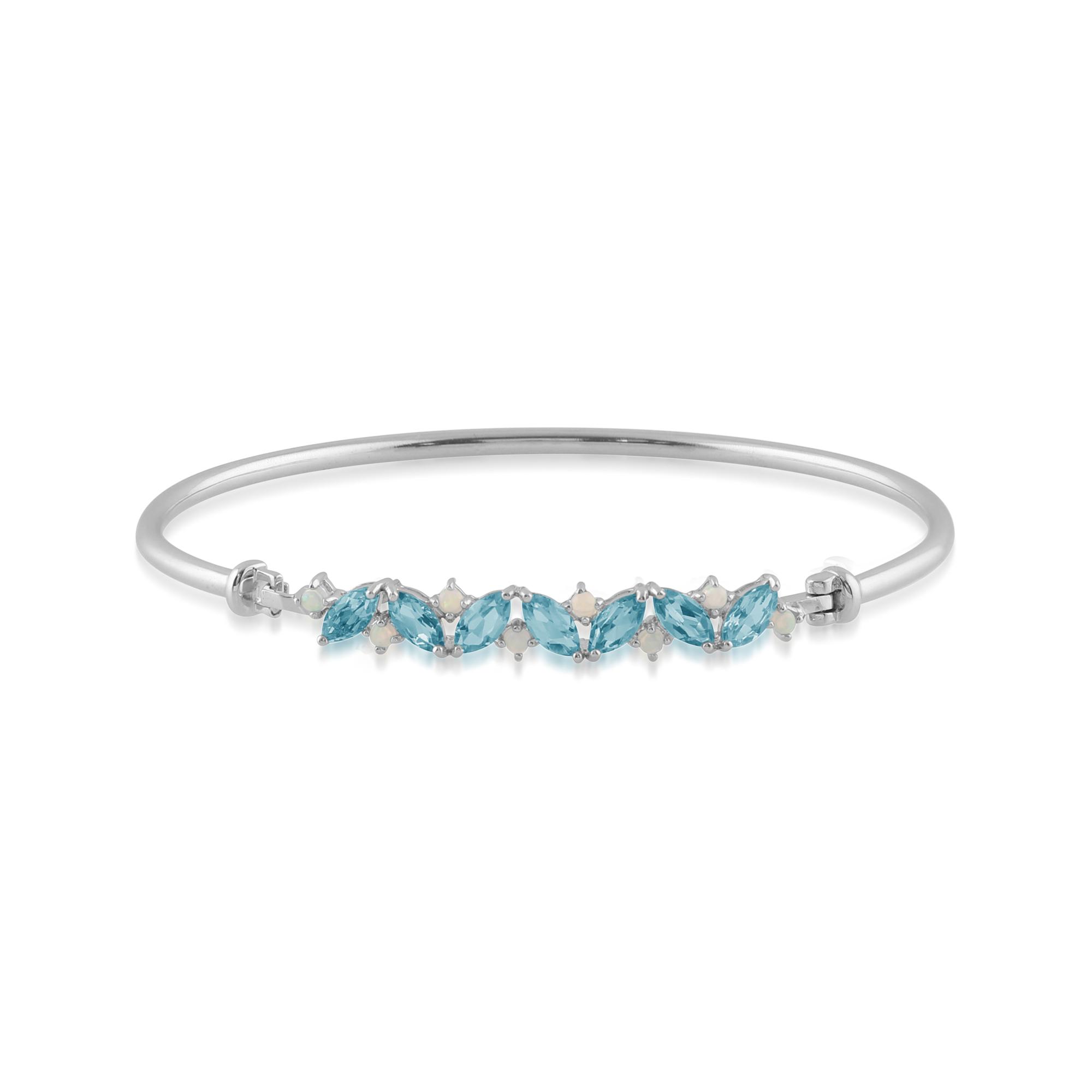 Opal & Topaz Cluster 925 Sterling Silver Bangle