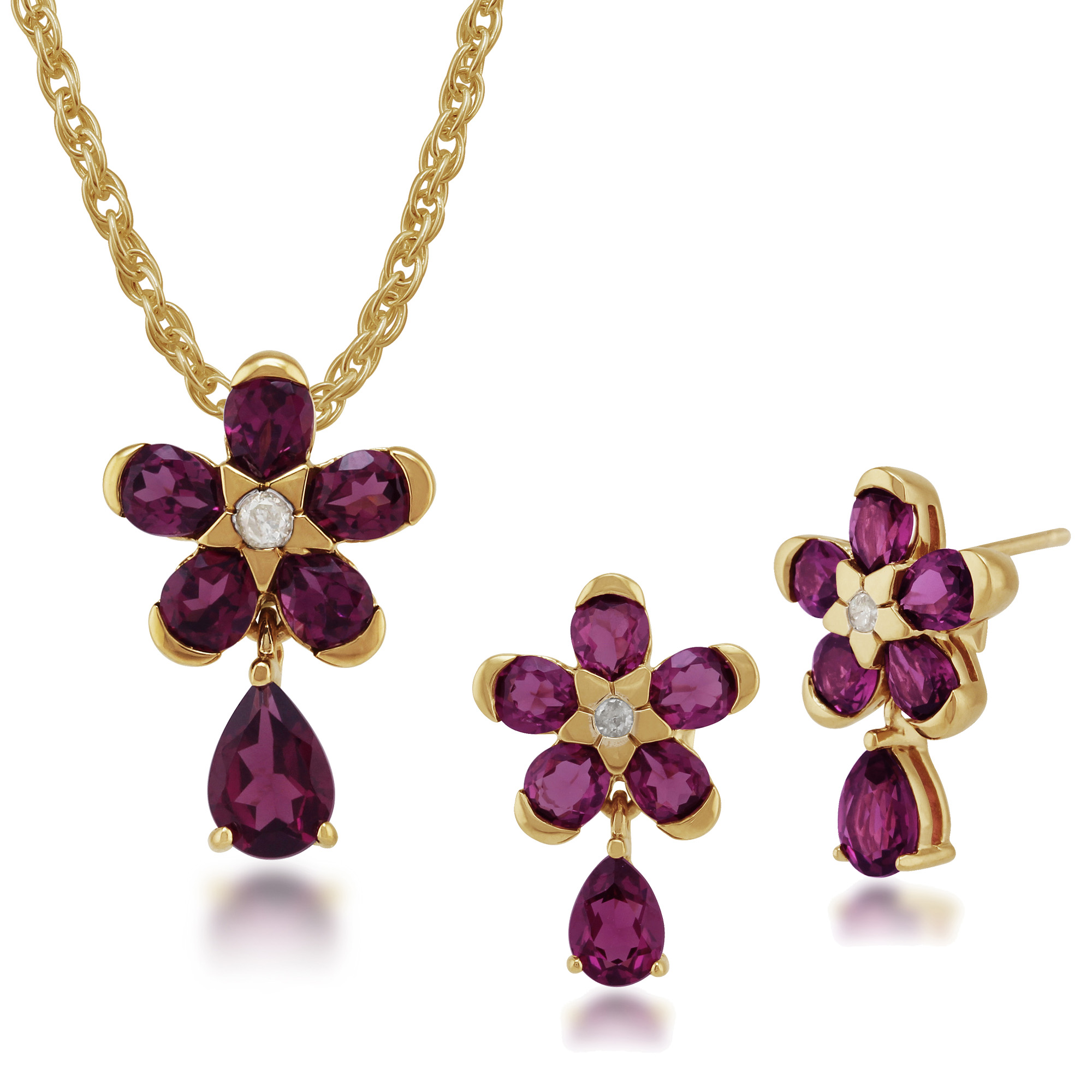 Gold Plated Sterling Silver Rhodolite & Diamond Stud Earring & 45cm Necklace Set