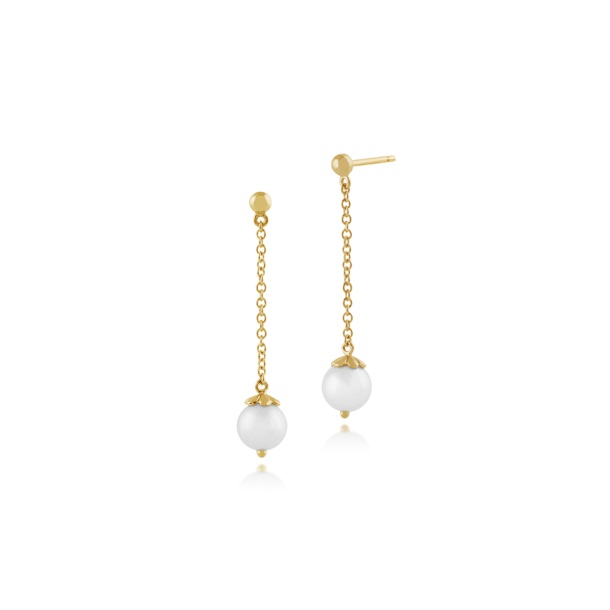Gemondo 925 Gold Plated Sterling Silver 2.28ct Freshwater Pearl Drop Earrings
