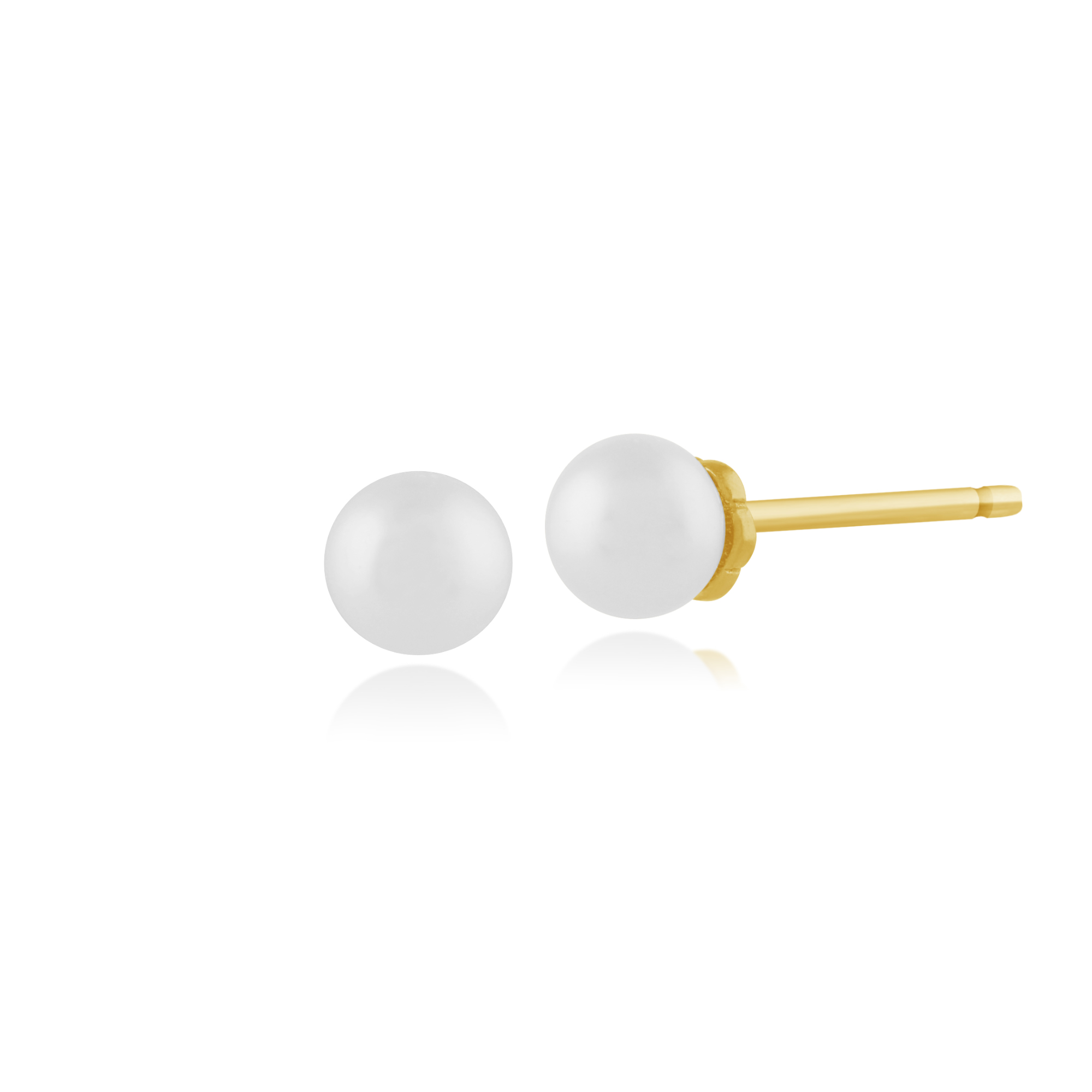 Gemondo 925 Gold Plated Sterling Silver 0.86ct Freshwater Pearl Stud Earrings
