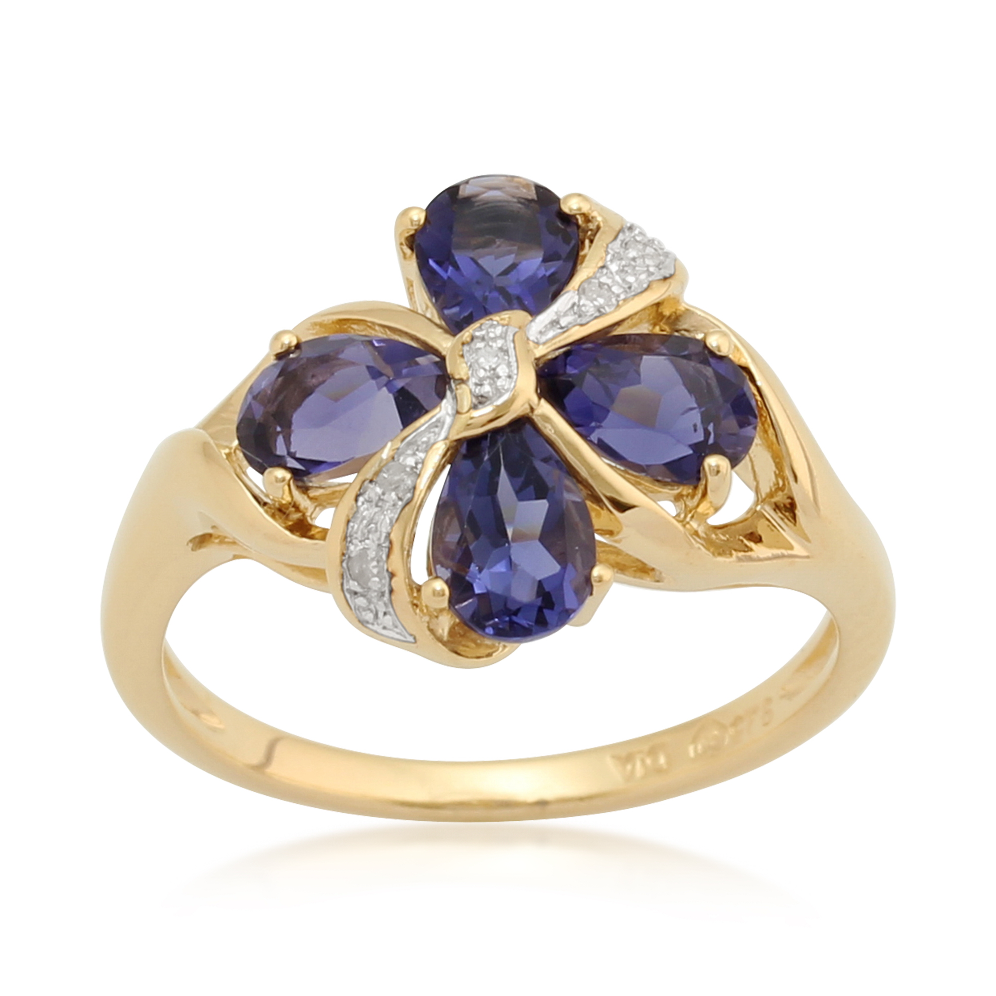 Gemondo Gold Plated Sterling Silver 1.16ct Iolite & 2.2pt Diamond Bow Ring