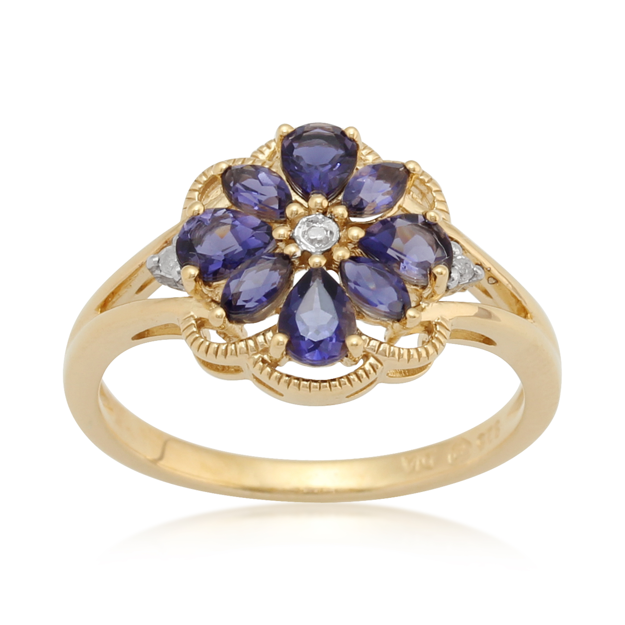 Gemondo Gold Plated Sterling Silver 0.57ct Iolite & 2pt Diamond Floral Ring