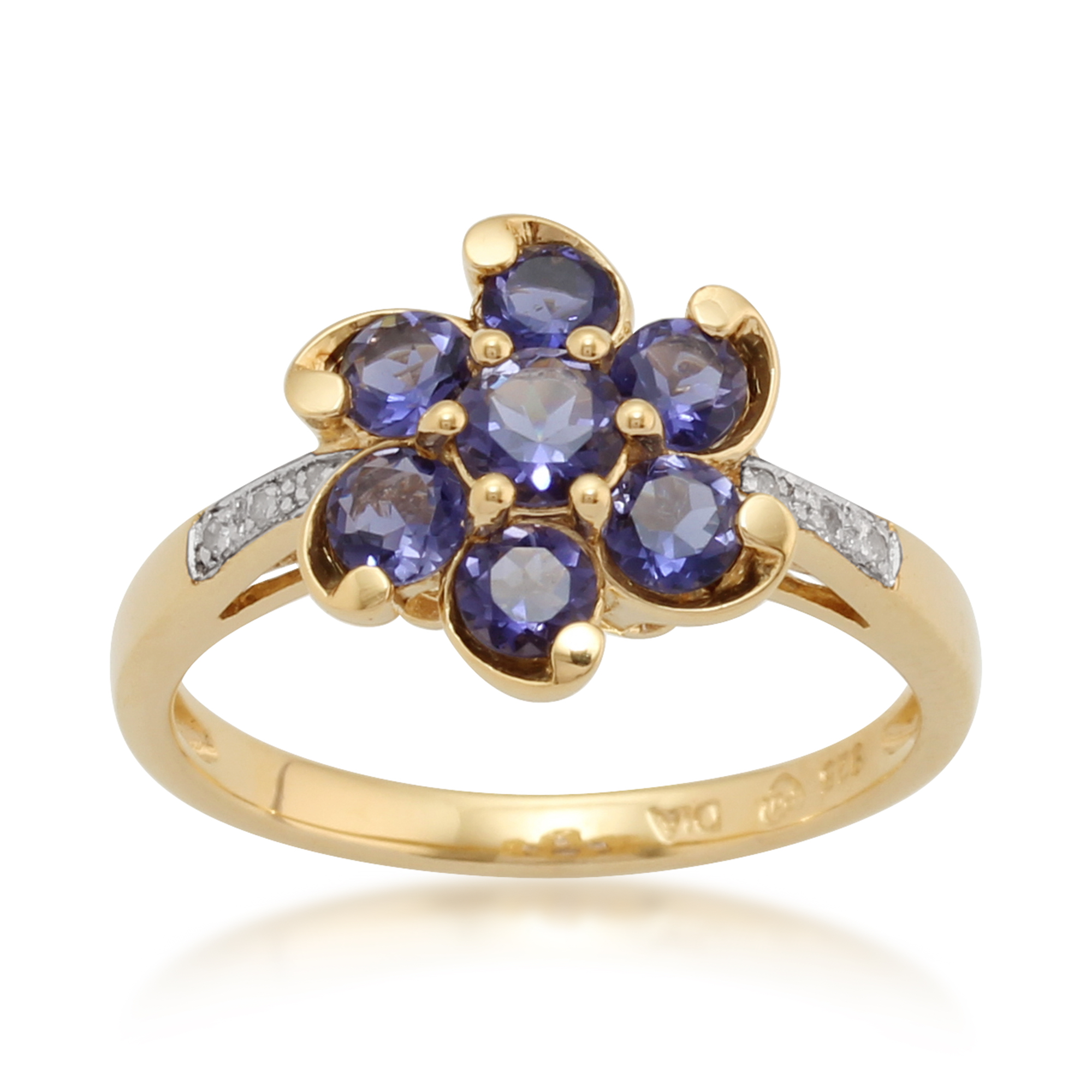 Gemondo Gold Plated Sterling Silver 0.85ct Iolite & 2.4pt Diamond Flower Ring