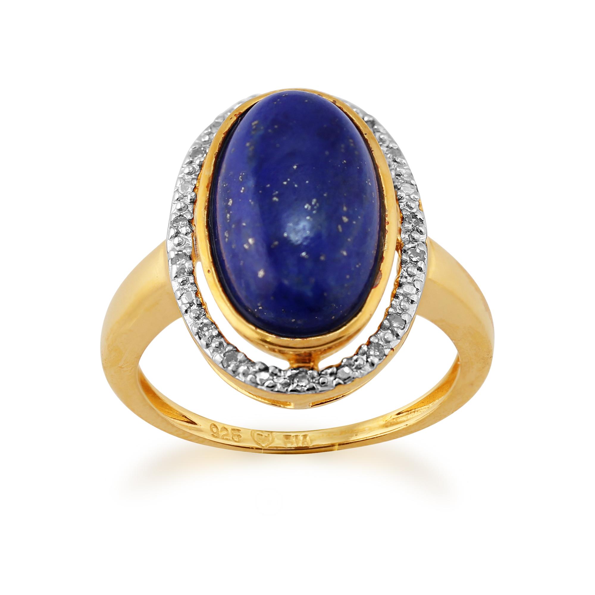 gemondo gold plated sterling silver genuine lapis lazuli diamond cluster ring ebay. Black Bedroom Furniture Sets. Home Design Ideas