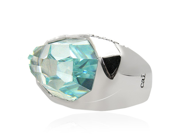 Cai Ice Blue Cubic Zirconia Chunky Silver Ring