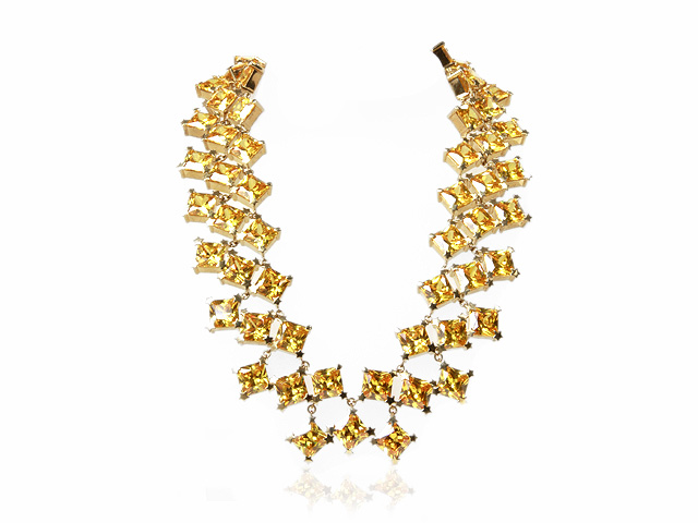 Otazu Gold Plated Silver Yellow CZ 42cm Necklace