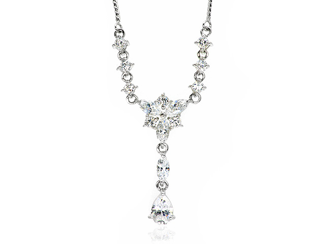 9ct White Gold White Cubic Zirconia Necklace