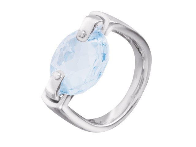 Cai Jewels Blue Cubic Zirconia Single Stone Ring