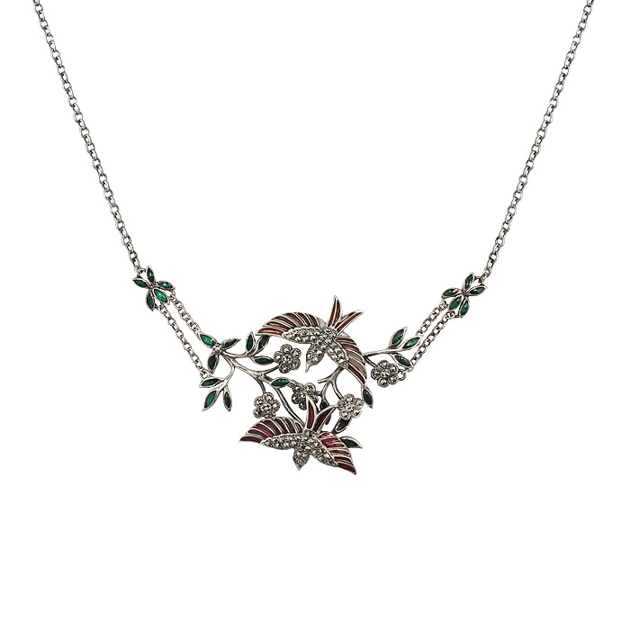 Elegant Marcasite and Enamel Bird Necklace