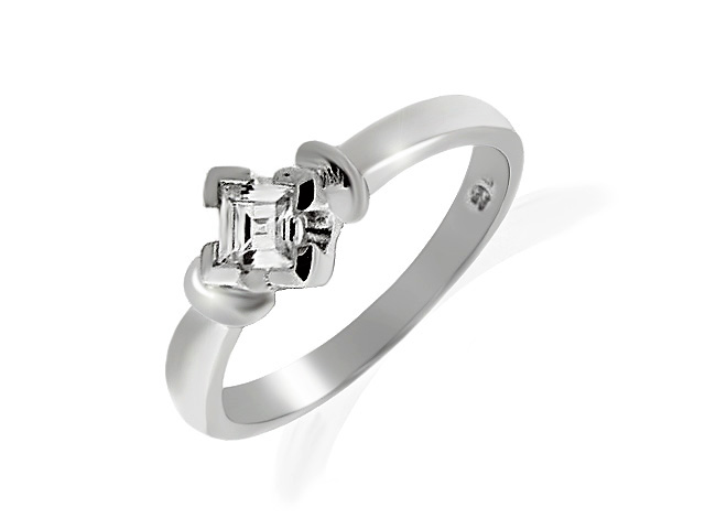 925 Sterling Silver White Cubic Zirconia Single Stone Ring