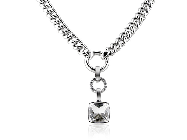 925 Sterling Silver White Cubic Zirconia 41cm Necklace
