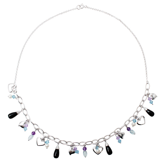 925 Sterling Silver Multi Coloured Crystal Bead