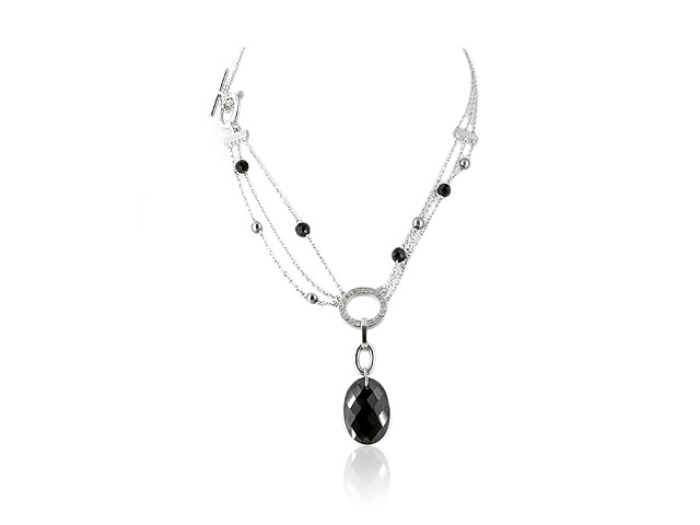 925 Sterling Silver Cubic Zirconia, Onyx