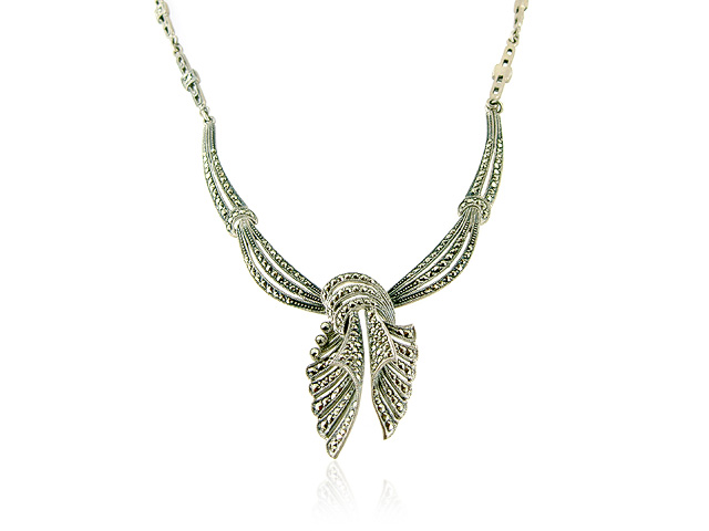925 Sterling Silver Marcasite Ribbon Design 41cm Necklace