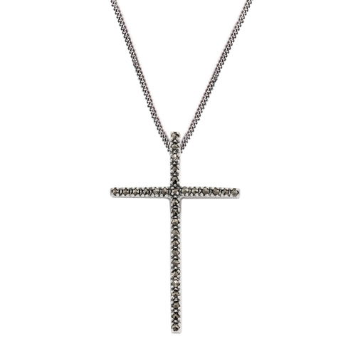 925 Sterling Silver Marcasite Cross Design 45cm Necklace