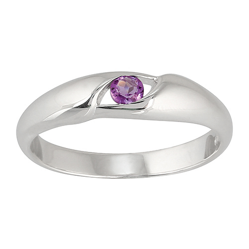Sterling Silver Oval Cut Amethyst Single Stone Ring Size: K