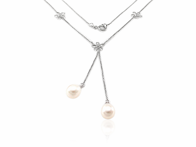 Sterling Silver Floral Freash Water Pearl Necklace