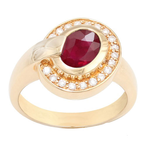 18ct Yellow Gold Ruby and Full Cut Diamond Contemporary Ring Size: M
