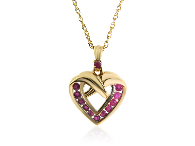"""Gold Plated Silver Ruby Heart Pendant On An 18"""" Gold Plated Chain"""