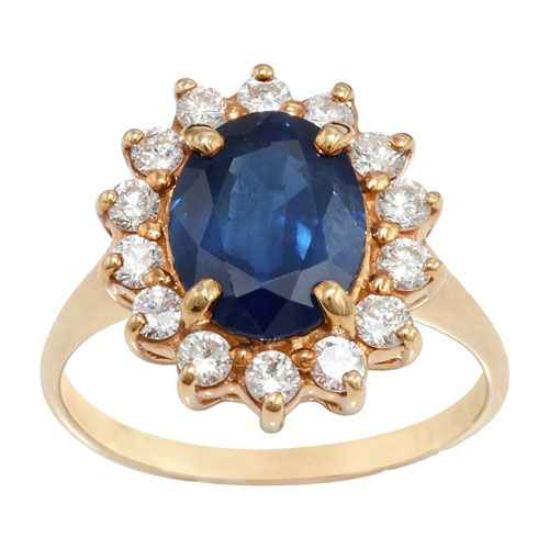 18ct Yellow Gold 2.95ct Sapphire and Diamond Cluster Ring Size: N