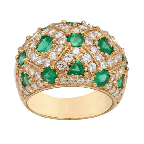 18ct Yellow Gold 2.25ct Emerald and Diamond Cocktail Ring Size: N