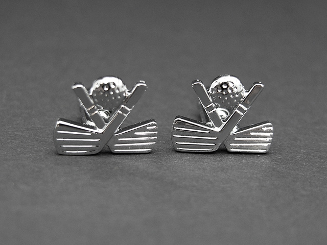 Silver Tone Plain Golf Design Cufflinks