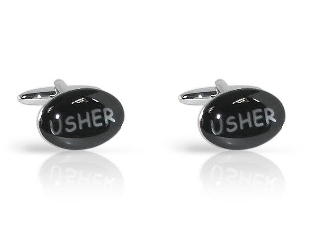 Silver Tone 'Usher' Oval Cufflinks