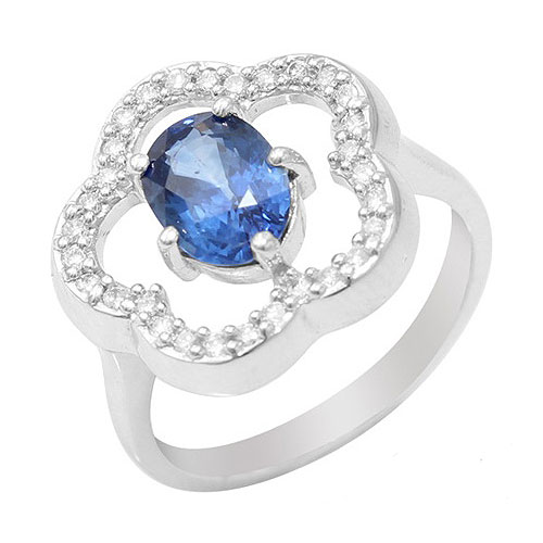 18ct White Gold 1.5ct Ceylon Sapphire and Diamond Flower Ring Size: N
