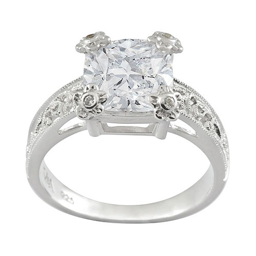 V&A Inspired Argentium Silver Irish Lace White CZ Single Stone Ring Size: N