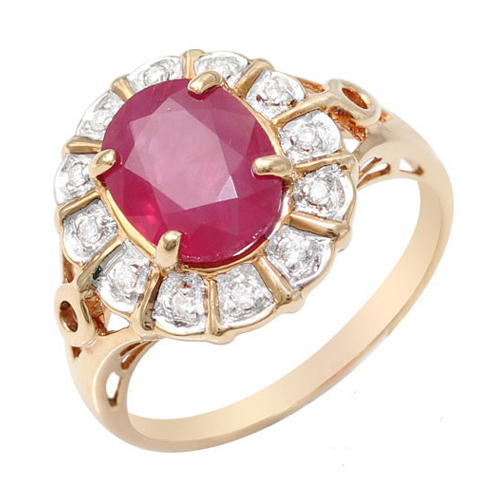 18ct Yellow Gold 2.00ct Ruby and Diamond Cluster Ring Size: L