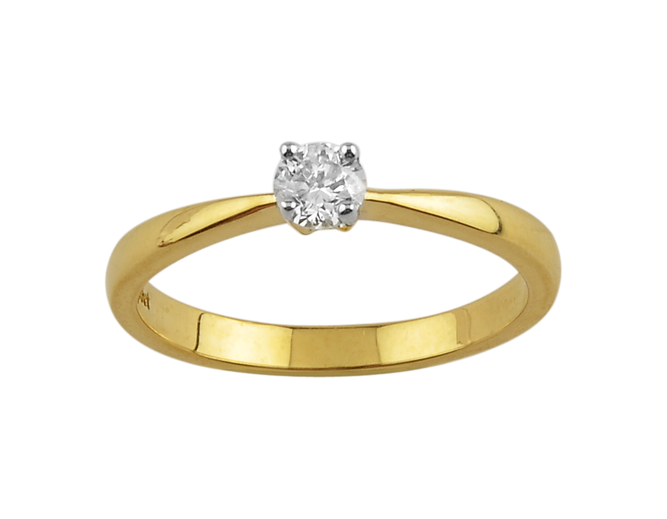 9ct Yellow Gold 0.25ct Diamond Four Claw Trellis Solitaire Ring Size: O